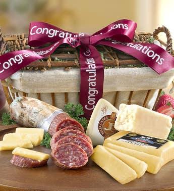 Congratulations Sausage  Cheese Gift Basket