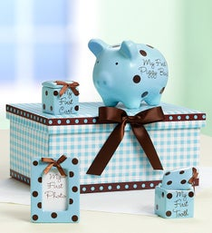 Classic Pink or Blue Babys Firsts Keepsakes Set