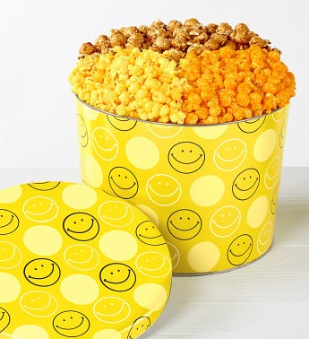 The Popcorn Factory Smiley Face 3 Way Tin 2G