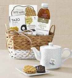 Relaxing Tea & Honey Gift Basket with Teapot