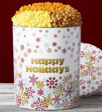 Popcorn Factory Sparkling Snowflakes 3 Way Tin