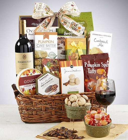 Autumn Feast Gourmet Gift Basket with Merlot