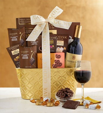 Godiva Decadence Gift Basket with Cabernet Wine