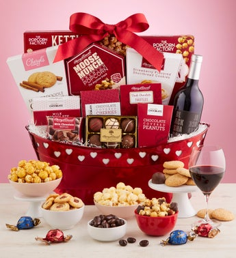 Romantic Valentine Wine Gift Basket