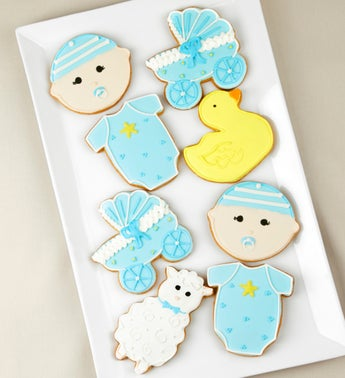 Welcome Baby Boy Artisan Iced Cookies