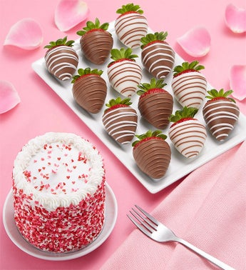 Chocolate Covered Strawberries  Red Velvet Cake