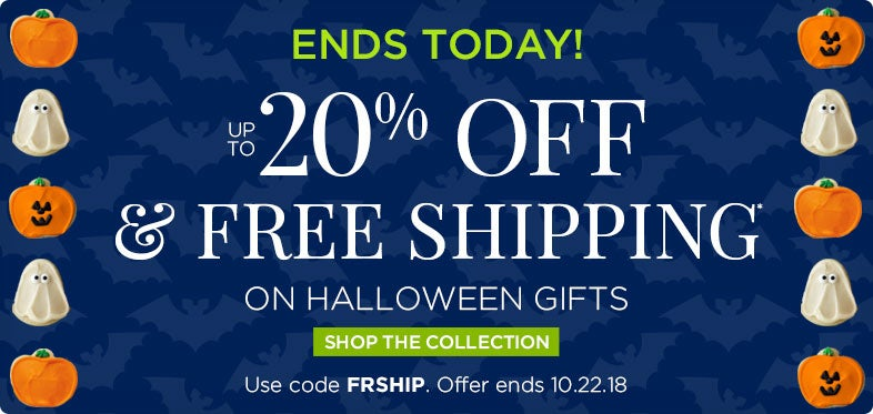 Save up to 20% and free shipping on Halloween Gifts