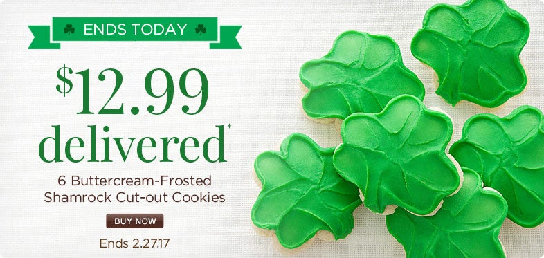 St. Patrick's Buttercream Frosted Cookie Sampler only $12.99 Delivered!
