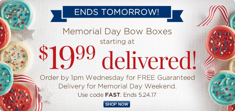Memorial Day Bow Boxes $19.99 Delivered