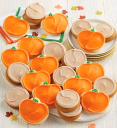 Buttercream Frosted Cinnamon Pumpkin and Pumpkin Cut out Cookies