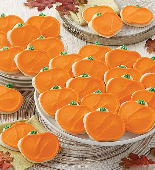 Buttercream Frosted Pumpkin Cutout Cookies