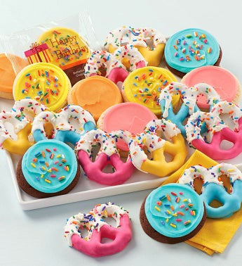 Buttercream Frosted Birthday Cookies And Pretzels - 10 Pieces
