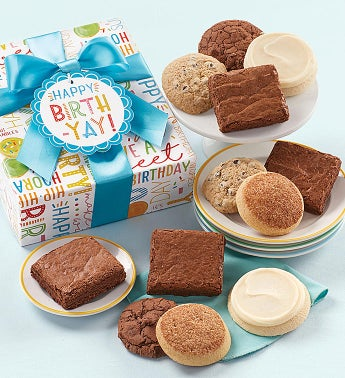 Gluten Free Happy Birthday Cookie and Brownie Gift Boxes