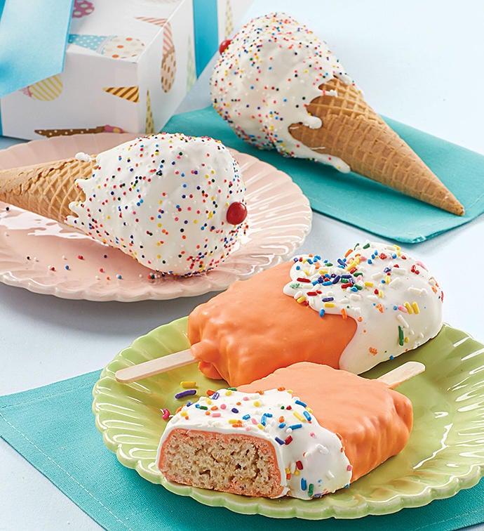 Birthday Crispy Pops and Ice Cream Cones