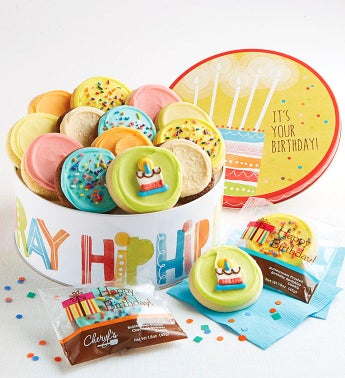 Birthday Gift Tin - 16 Count Frosted W/ Cake