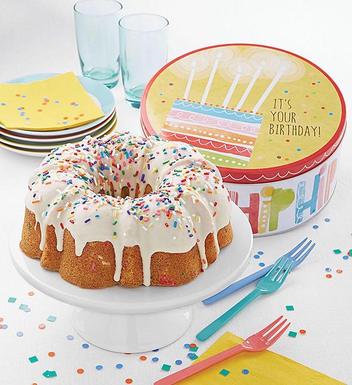 Birthday Gift Tin Confetti Bundt Cake