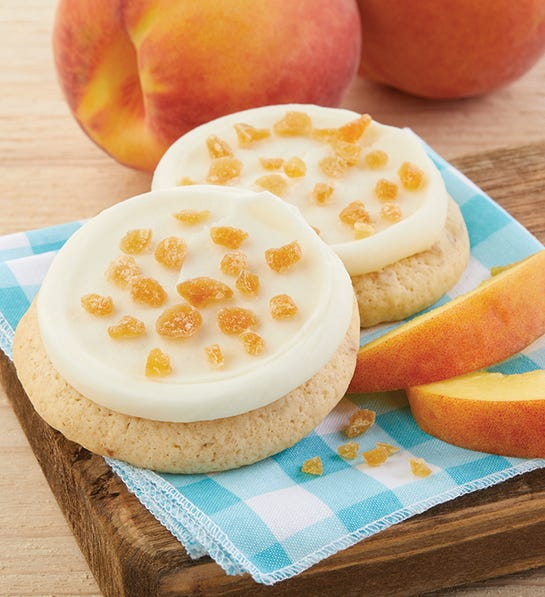 Cheryl's 24 Buttercream Frosted Peaches and Cream Cookies Bow Gift Box