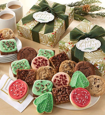 30 Count Happy Holidays Sparkling Cookie Brownie Gift Box