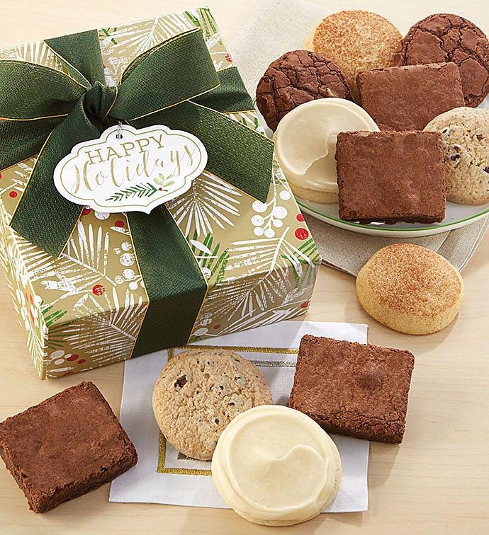 Gluten Free Happy Holidays Sparkling Cookie Brownie Gift Box