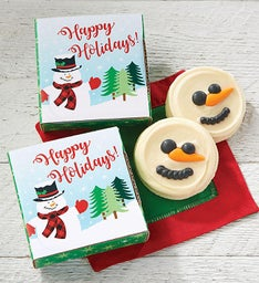 Happy Holidays Snowman Cookie Card