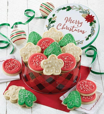 Merry Christmas Gift Tin Frosted Holiday Cut-outs