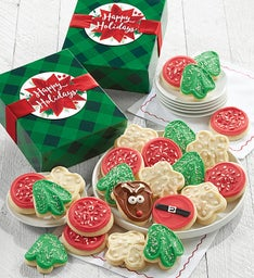 Happy Holidays Buttercream Frosted Cut Out Cookie Gift Boxes