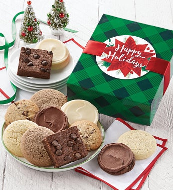 Sugar Free Happy Holidays Cookie And Brownie Gift Boxes Cookies by Cheryl's