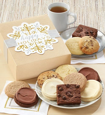 Sugar Free Happy Holidays Sparkling Cookie And Brownie Gift Boxes by Cheryl's
