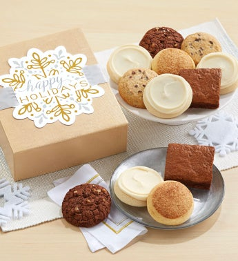 Gluten Free Happy Holidays Sparkling Cookie and Brownie Gift Boxes