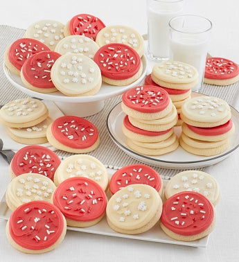 Buttercream Frosted Red and White Cut-outs 36 Cookies