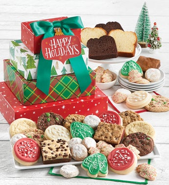 Traditional Happy Holidays Bakery Gift Tower