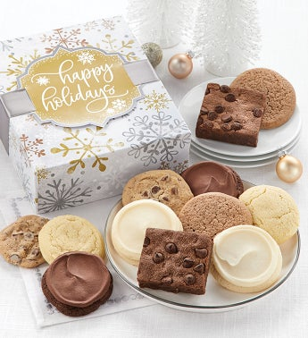 Sugar Free Happy Holidays Sparkling Cookie and Brownie Gift Boxes