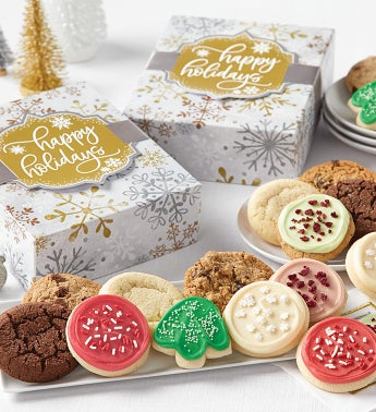 Happy Holidays Sparkling Cookie Gift Boxes - 12 Cookies