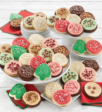 Bow Gift Box - 36 Buttercream Frosted Holiday Cookies
