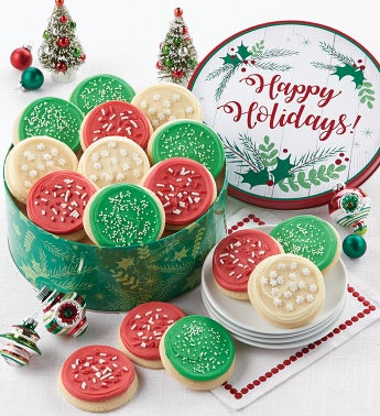 Buttercream Frosted Happy Holidays Gift Tin