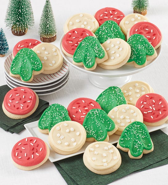 24 Buttercream Frosted Holiday Cut-out Cookies