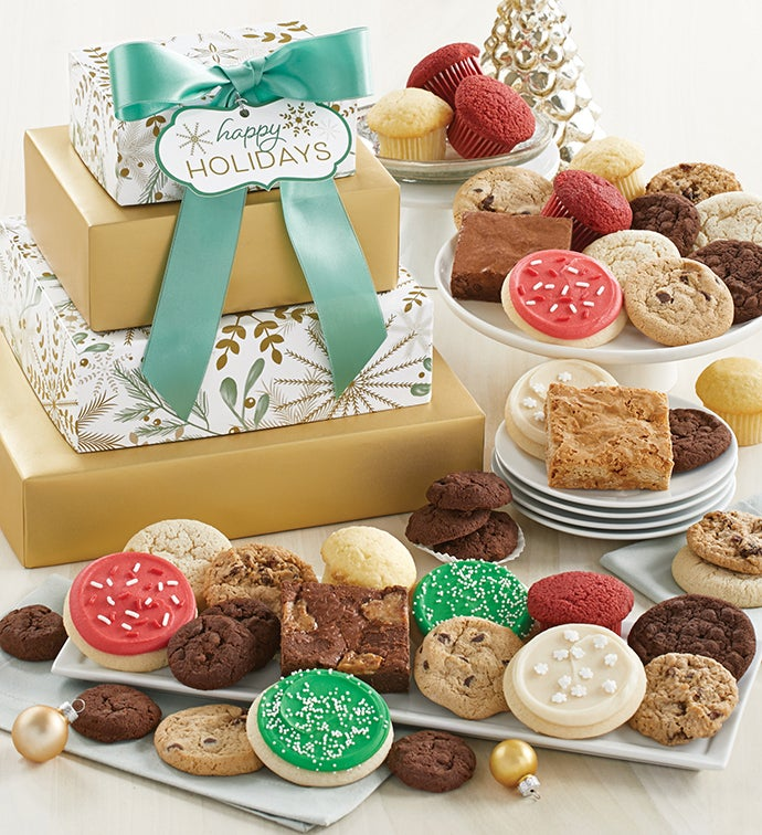 Sparkling Bakery Gift Tower - Happy Holidays