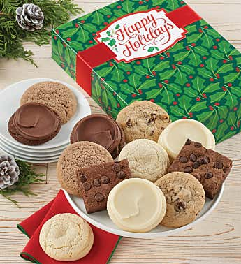 Sugar Free Happy Holidays Cookie and Brownie Gift Box