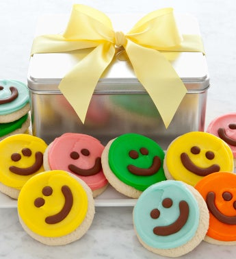 Happy Face Cut-Outs Assorted Colors Gift Tin