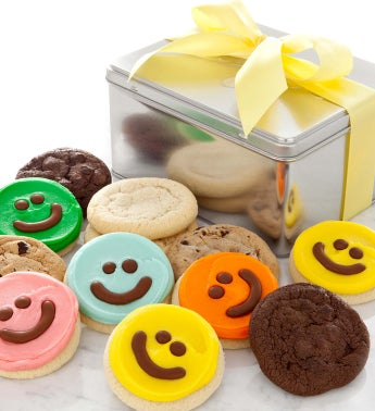 Assorted Cookies Plus Happy Face Cut-Outs Gift Tin