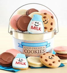 Good Friends and Cookies Buttercream Frosted and Crunchy Cookie Pail