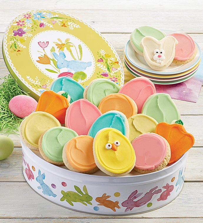 Gift tin with frosted cookies easter gift tin with frosted cookies negle Images