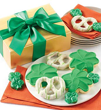 St Patrick's Day Cookies Pretzels and Chocolates