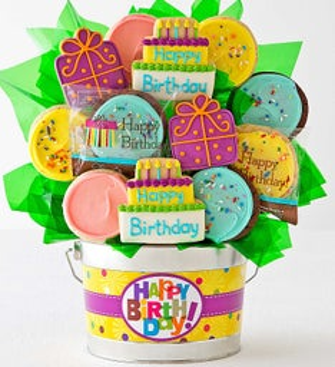 Happy Birthday Cookie Flower Pot