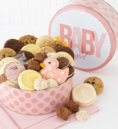 Welcome Baby Girl Gift Tin - Treats Assortment