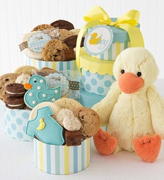 Welcome Baby Boy Gift Tower with Duck