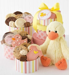 Welcome Baby Girl Gift Tower with Duck