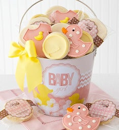 Baby Girl Frosted Cookie Pail