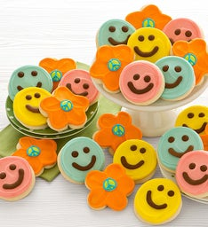 Buttercream Frosted Happy Face & Flower Cut-out Cookies