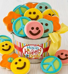 Happy Face Frosted Cookie Pail
